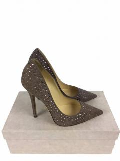 Jimmy Choo Perforated Nappa Suede Studded Pumps Size 7