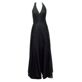 Hoss Intropia Black Mesh Overlay Halter Neck Gown