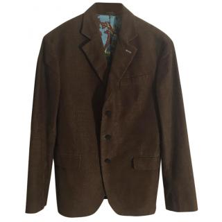 7 For All Mankind khaki green corduroy jacket silk lining
