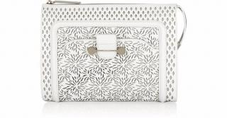 Jason Wu Daphne White Leather Laser cut clutch