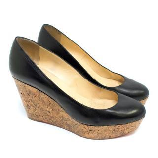 Christian Louboutin Black Leather and Cork Wedge Heels