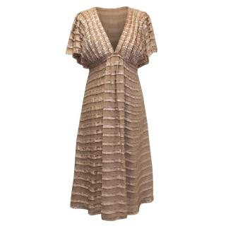 Temperley Mauve Ruffled Short Sleeve Dress