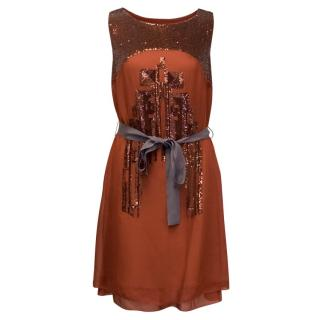 Hoss Orange Dress With Sequins Embellishment