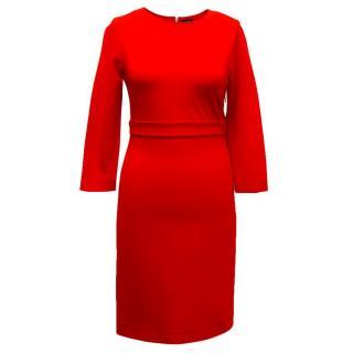 Joseph Long Sleeved Red Pencil Dress