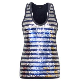 Joseph Blue and Silver Sequin Tank Top
