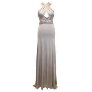 Amanda Wakeley Nude Maxi Dress with Halter Tie
