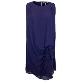 Halston Heritage Navy Blue Silk Dress with Loose Overlay