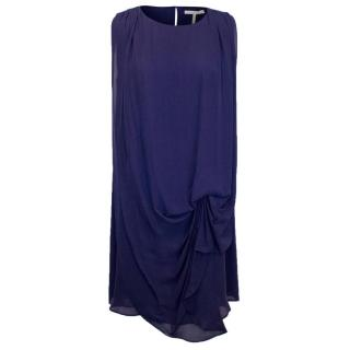 Halston Heritage Navy Blue Silk Dress with Loose Overlay