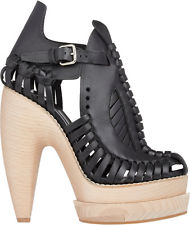 89be640e27d Proenza Schouler Huarache Runway Leather Wooden Platform Sandals ...