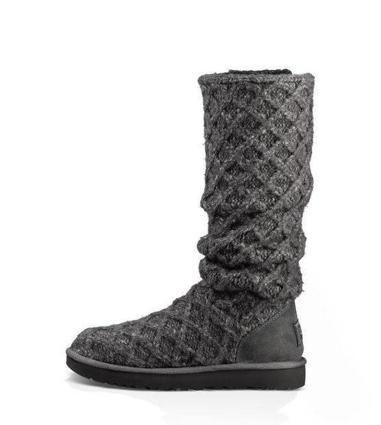 1e96c196103 Ugg Classic Cardy Grey Knitted Boots Size 38