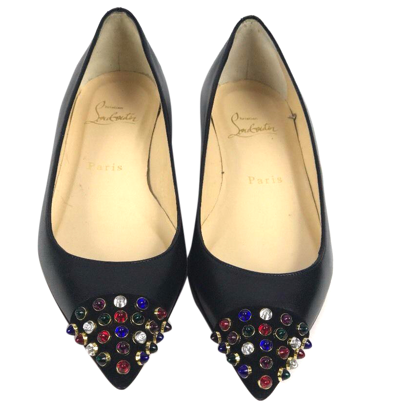 79fdaa7c815d Christian Louboutin Cabo Flat Pump Black Embellished Uk Size 25 ...