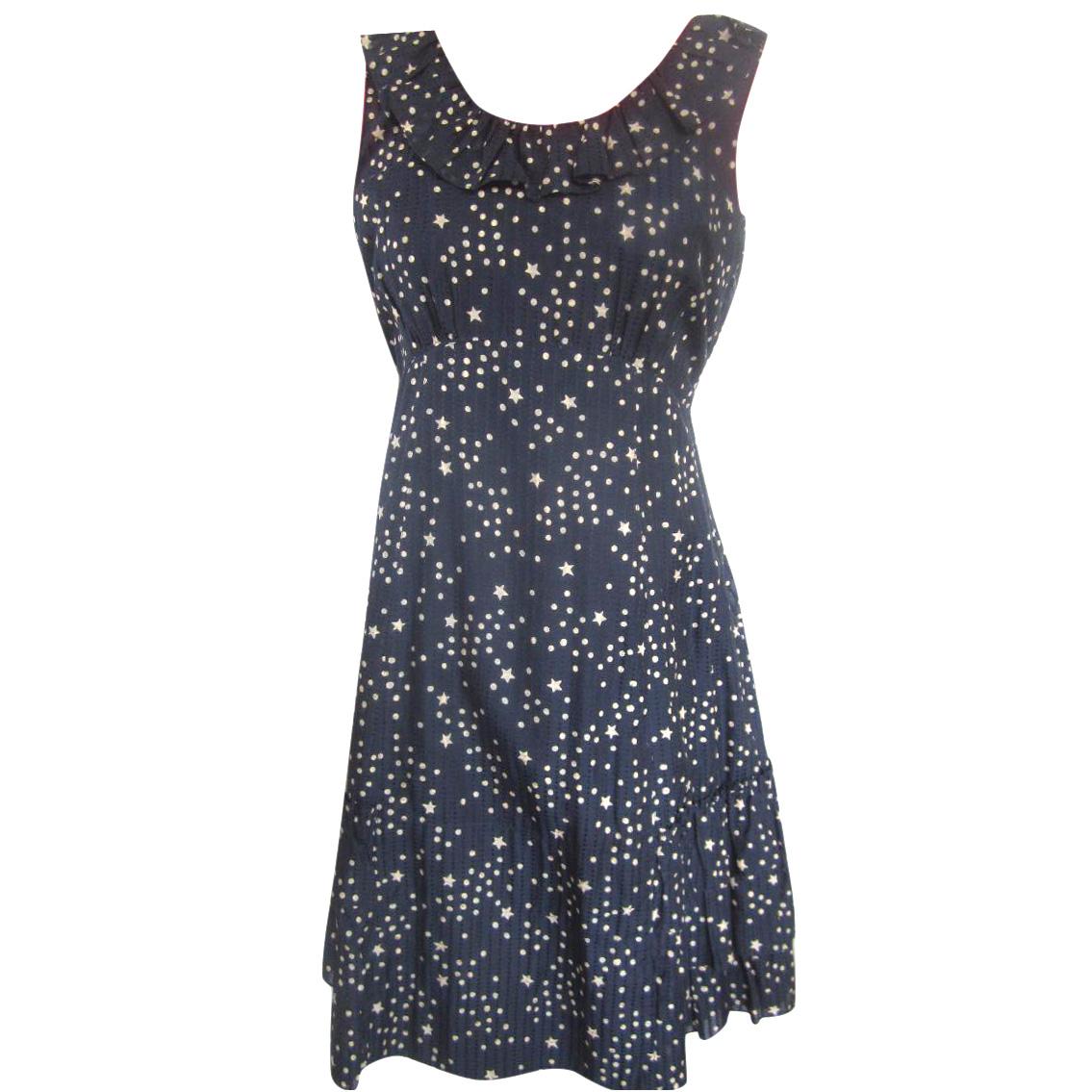Marc by Marc Jacobs Blue White Star Print Ruffle Detail Dress