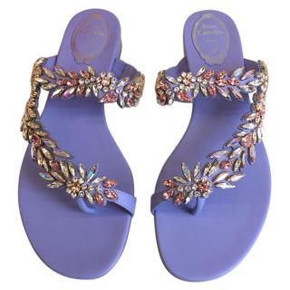 Rene Caovilla embellished flat sandals