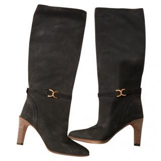 Chloe Grey Suede Heeled Boots