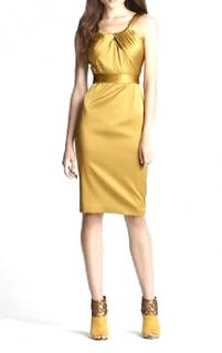 Elie Tahari Silk Knee Length Gold Dress