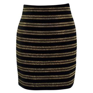 Balmain Black Velvet Studded Mini Skirt