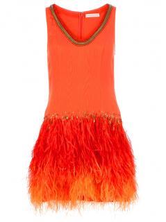 Matthew Williamson Orange Silk Dress with Ostrich Feathers