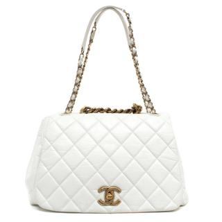 Chanel White Aged Calfskin Slouchy Flap Bag