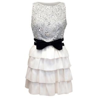 Azzaro Cream Silk Crystal Embellished Frill Dress
