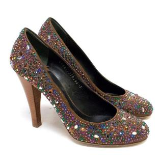 Gina Gem Encrusted Heeled Brown Pumps