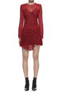 Self Portrait Strike Mini Dress In Raspberry Red
