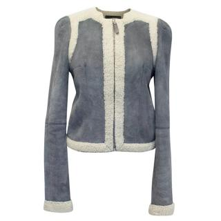 Balenciaga Leather Grey Suede and Shearling Lined Jacket