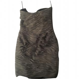Emanuel Ungaro silk strapless grey short dress