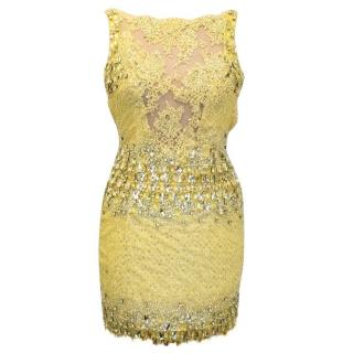 Ralph and Russo Yellow Crystal Encrusted Mini Dress