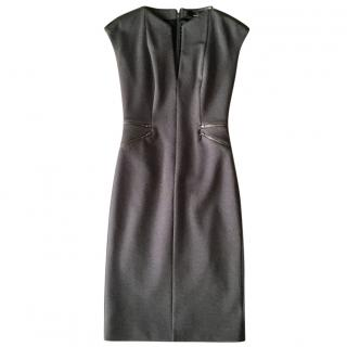 Amanda Wakeley Grey Wool-Mix Form-Fitting Dress