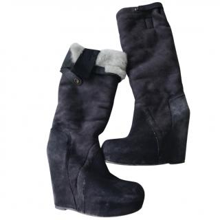 Rick Owens Dark Grey Platform Boots