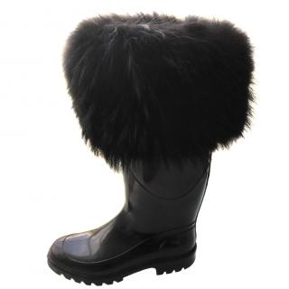 Dolce & Gabbana Fox Fur and Rubber Boots