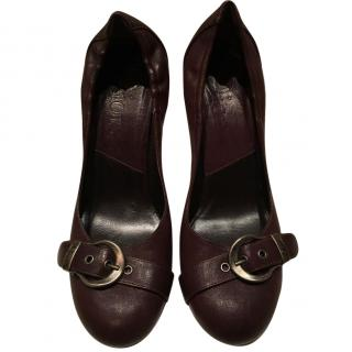 Dior Gaucho detail court shoes in chocolate brown leather