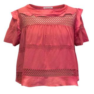 Isabel Marant Etoile Pink Ruffle and Embroidery Top