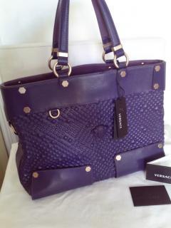 Versace Medusa Studed Purple Leather Handbag
