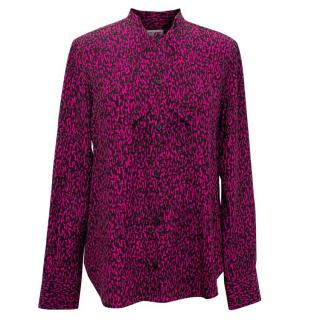 Saint Laurent Black and Fuschia Pink Printed Blouse