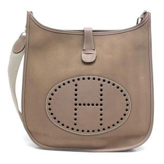 Hermes Etoupe Toile Canvas and Swift Leather Evelyne