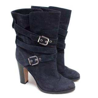 Gianvito Rossi Navy Nubuck Boots With Silver Buckles