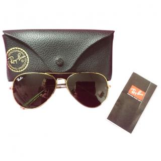 Ray-Ban Dark Green Lens Sunglasses with Gold Rim