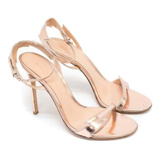 Gianvito Rossi Rose Gold Lightning Bolt Heeled Sandals