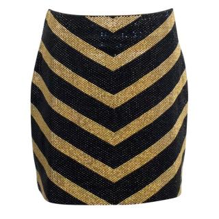 Balmain Black and Gold Crystal Embellished Mini Skirt
