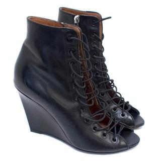 Givenchy Black Lace Up Wedge Boots