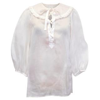 Valentino Roma Cream Silk Lace Up Blouse