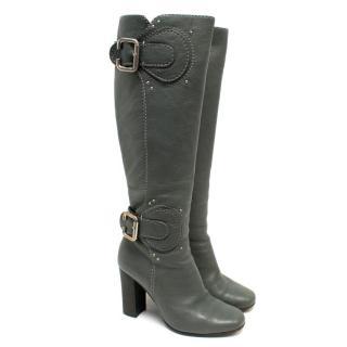 Chloe Grey Buckle Leather Heeled Boots