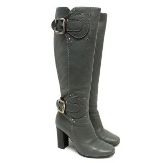 Chloe Grey Buckle Leather Heeled Boots