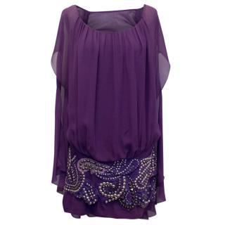 Balmain Purple Silk Dress With Studded Skirt