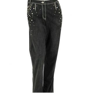 Escada Grey and Black Embellished Jeans