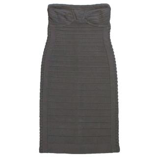 Herve Leger Grey Bandage Mini Dress