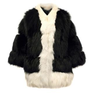 Cecile Black And White Fox Fur Coat