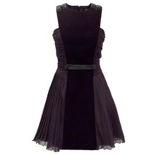 Versus Versace Deep Purple Velvet And Silk Dress