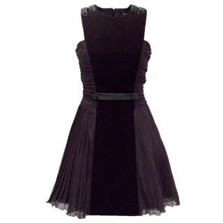 Versus Versace Deep Purple Velvet And Silk Dress